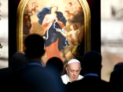 Pope Francis leads the prayer to mark the end of the month of worldwide prayers to stop the pandemic, in the Vatican gardens Monday, May 31, 2021 (Filippo Monteforte/Pool photo via AP)