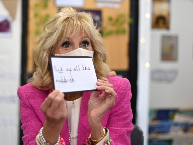 US First Lady Jill Biden visits Connor Downs Academy in Hayle, Cornwall on the sidelines of the G7 summit on June 11, 2021. (Photo by DANIEL LEAL-OLIVAS / POOL / AFP) (Photo by DANIEL LEAL-OLIVAS/POOL/AFP via Getty Images)