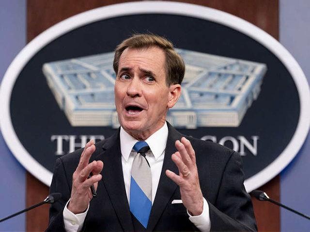 Pentagon spokesman John Kirby speaks during a media briefing at the Pentagon in Washington, Monday, May 3, 2021. (AP Photo/Andrew Harnik)