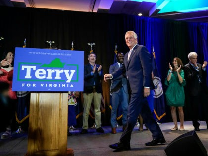 MCLEAN, VA - JUNE 8: Virginia gubernatorial candidate Terry McAuliffe (D-VA) arrives to speak during an election night event after winning the Democratic primary for governor on June 8, 2021 in McLean, Virginia. McAuliffe will face Republican nominee Glenn Youngkin in the state's general election this fall. McAuliffe previously served …