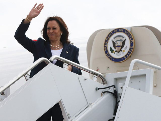 JOINT BASE ANDREWS, MARYLAND - JUNE 14: U.S. Vice President Kamala Harris waves as she boards Air Force Two June 14, 2021 in Joint Base Andrews, Maryland. Vice President Harris is traveling to Greenville, South Carolina, as part of a nationwide tour to encourage people to get vaccinated and highlight …