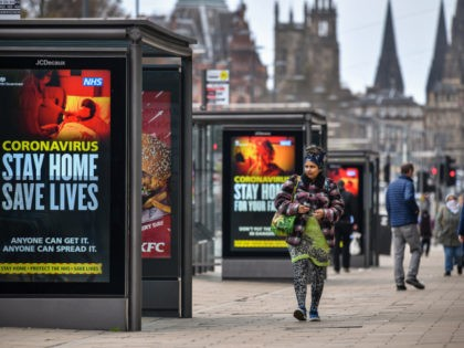 EDINBURGH, SCOTLAND - APRIL 17: Members of the public are seen out on Princess Street during the coronavirus pandemic on April 17, 2020 in Edinburgh, Scotland.The Coronavirus (COVID-19) pandemic has spread to many countries across the world, claiming over 120,000 lives and infecting over 2 million people. (Photo by Jeff …