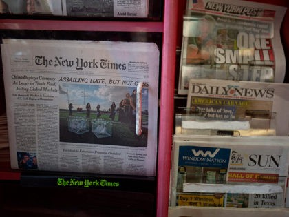 The front pages of The New York Times, New York Post, New York Daily News and Baltimore Sun newspapers are seen at a convenience store in Washington, DC, on August 6, 2019. (Photo by Alastair Pike / AFP) (Photo by ALASTAIR PIKE/AFP via Getty Images)