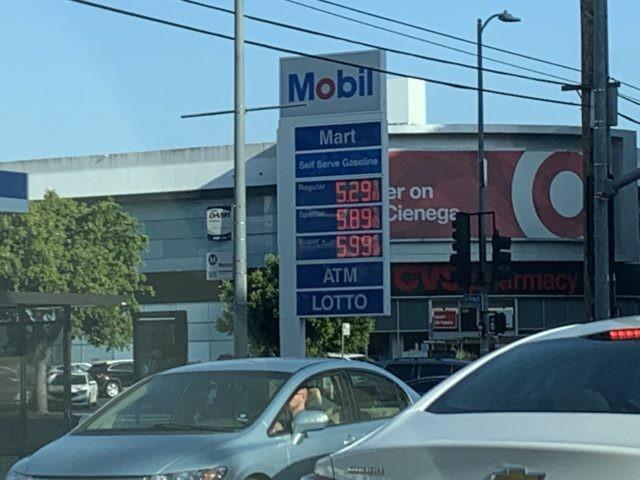 Gas prices near Beverly Center (Joel Pollak / Breitbart News)