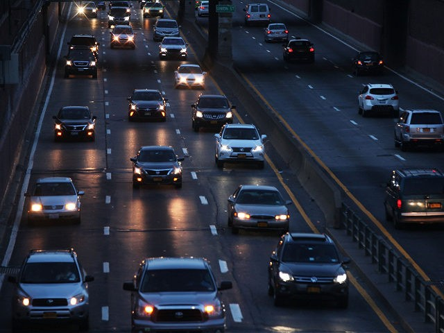 NEW YORK, NY - SEPTEMBER 04: Cars are viewed along a highway in Brooklyn New York at the start of the busy Labor Day weekend on September 4, 2015 in New York. With gas prices at recent lows, AAA predicts this will be the heaviest Labor Day travel period since …