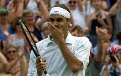 Magical moment: Roger Federer celebrates his 2001 win over Pete Sampras