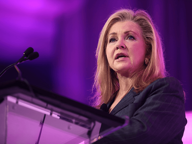 U.S. Senator Marsha Blackburn speaking with attendees at the 2021 Young Women's Leadership Summit hosted by Turning Point USA at the Gaylord Texan Resort & Convention Center in Grapevine, Texas.