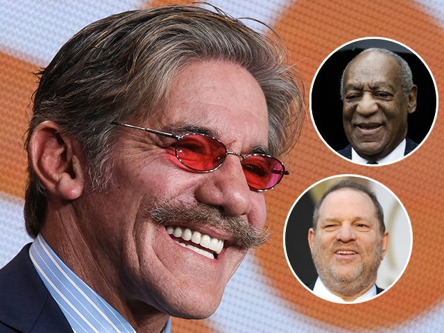 """(INSETS: Bill Cosby, Harvey Weinstein) FILE - In this Jan. 16, 2015 file photo, Geraldo Rivera participates in """"The Celebrity Apprentice"""" panel at the NBC 2015 Winter TCA in Pasadena, Calif. Rivera says he's """"filled with regret"""" for initially discounting the sexual harassment allegations against his former Fox News Channel …"""