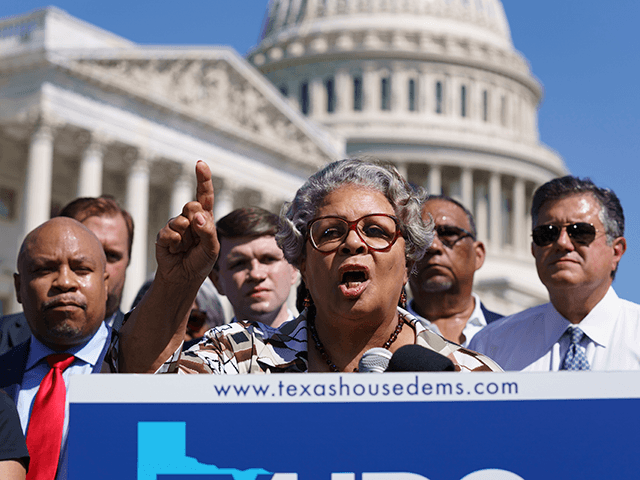 Texas State Rep. Senfronia Thompson, dean of the Texas House of Representatives, speaks as Democratic members of the Texas legislature hold a news conference at the Capitol in Washington, Tuesday, July 13, 2021. The Democrats left Austin to deprive the Legislature of a quorum as they try to kill a …