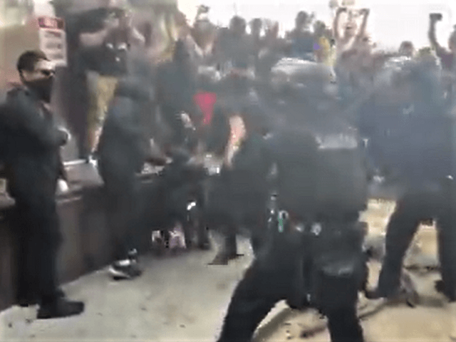 Los Angeles Police (LAPD) arrest Antifa protesters near the Wi Spa. (Twitter Video Screenshot/Samuel Braslow)