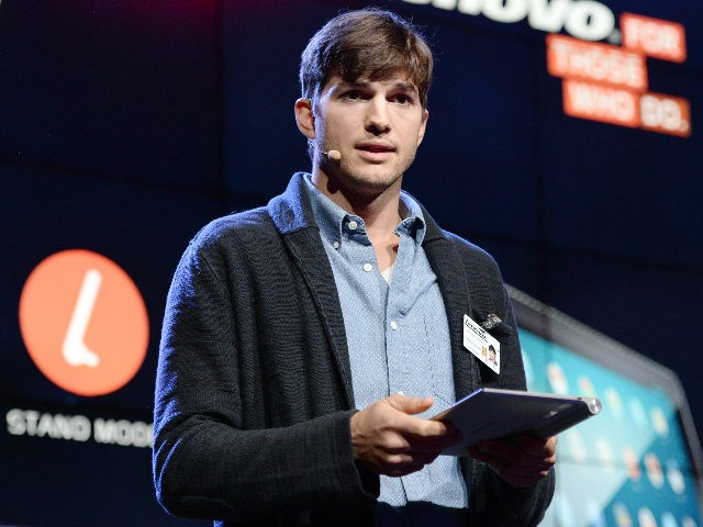LOS ANGELES, CA - OCTOBER 29: Actor Ashton Kutcher named Lenovo product engineer and launches Yoga Tablet at YouTube Space LA on October 29, 2013 in Los Angeles, California. (Photo by Michael Kovac/Getty Images for Lenovo)