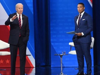 US President Joe Biden participates in a CNN Town Hall hosted by Don Lemon (R) at Mount St. Joseph University in Cincinnati, Ohio, July 21, 2021. (Photo by SAUL LOEB / AFP) (Photo by SAUL LOEB/AFP via Getty Images)