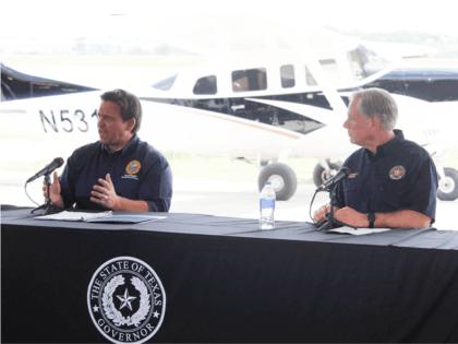 Florida Governor Ron DeSantis and Texas Governor Greg Abbott during border briefing in Del Rio, Texas. (Photo: Randy Clark/Breitbart Texas)
