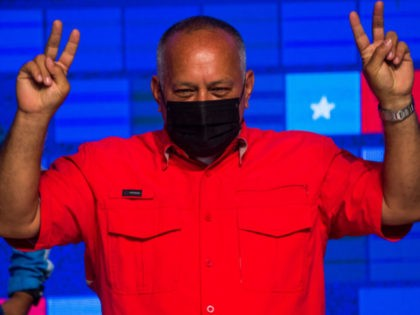 Socialist United Party of Venezuela (PSUV) leader Diosdado Cabello reacts after the announcement of the legislative election results in Caracas on December 7, 2020. (Photo by Cristian Hernandez / AFP) (Photo by CRISTIAN HERNANDEZ/AFP via Getty Images)