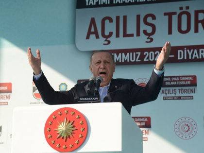 Turkey's President Recep Tayyip Erdogan gestures as he delivers a speech during the opening ceremony of Bismil Agricultural Irrigation Facilities in Diyarbakir, on July 9, 2021. (Photo by Ilyas AKENGIN / AFP) (Photo by ILYAS AKENGIN/AFP via Getty Images)