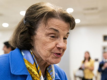 Sen. Dianne Feinstein, D-Calif., walks to take the Senate subway following the procedural vote on the For the People Act that would overhaul the election system and voting rights, at the Capitol in Washington, Tuesday, June 22, 2021. The motion to proceed to debate failed. (AP Photo/Manuel Balce Ceneta)