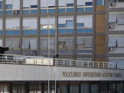 This photograph shows a TV camera over the main entrance of the Policlinico A Gemelli Hospital, in Rome, on July 10, 2021, as Pope Francis will lead on July 11, The Angelus Prayer at the hospital where he is recovering from colon surgery. - Pope Francis has been touched by …