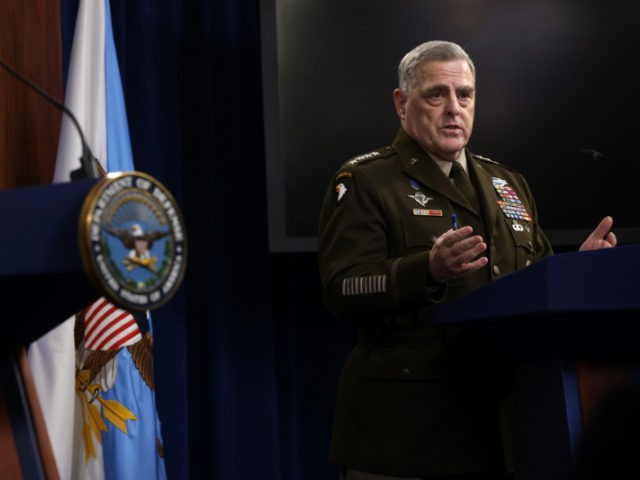 ARLINGTON, VIRGINIA - JULY 21: U.S. Chairman of Joint Chiefs of Staff Gen. Mark Milley participates in a news briefing at the Pentagon July 21, 2021 in Arlington, Virginia. Secretary of Defense Lloyd Austin and Gen. Milley held a news briefing to discuss various topics including the U.S. withdrawal from …