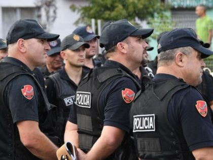 Albanian special policemen take part in a security briefing at the Elbasan Arena stadium before the UEFA Nations League football match Albania vs Israel, in Elbasan on September 7, 2018. - Tipped by Israeli intelligence services, Kosovo police thwarted a terrorist attack in November 2016, that aimed to target the …