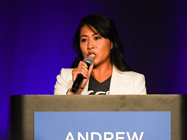 Congresswoman Stephanie Murphy addresses the crowd during a campaign rally in support for Florida Democratic gubernatorial candidate Andrew Gillum at the CFE arena on November 3, 2018 in Orlando, Florida. Gillum, the mayor of Tallahassee, is facing off in a close election against Republican candidate Ron DeSantis.Photo by Jeff J …
