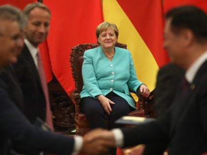 BEIJING, CHINA - SEPTEMBER 06: Chancellor of Germany Angela Merkel attends the signing ceremony during the meeting with Chinese Premier Li Keqiang at The Great Hall Of The People on September 06, 2019 in Beijing, China. (Photo by Andrea Verdelli/Getty Images)