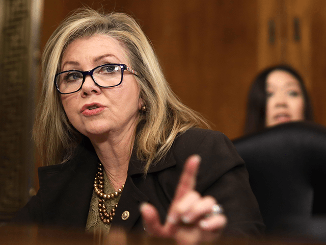 """U.S. Sen. Marsha Blackburn (R-TN) speaks during a hearing before Senate Judiciary Committee December 10, 2019 on Capitol Hill in Washington, DC. The committee held a hearing on """"Encryption and Lawful Access: Evaluating Benefits and Risks to Public Safety and Privacy."""" (Photo by Alex Wong/Getty Images)"""