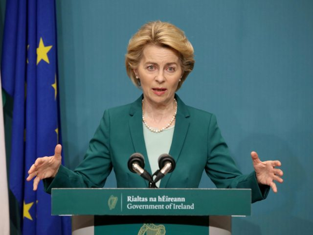 European Commission President Ursula von der Leyen speaks during a press conference with Ireland's Prime Minister Leo Varadkar at Government Buildings in Dublin, on January 15, 2020. (Photo by Paul Faith / AFP) (Photo by PAUL FAITH/AFP via Getty Images)