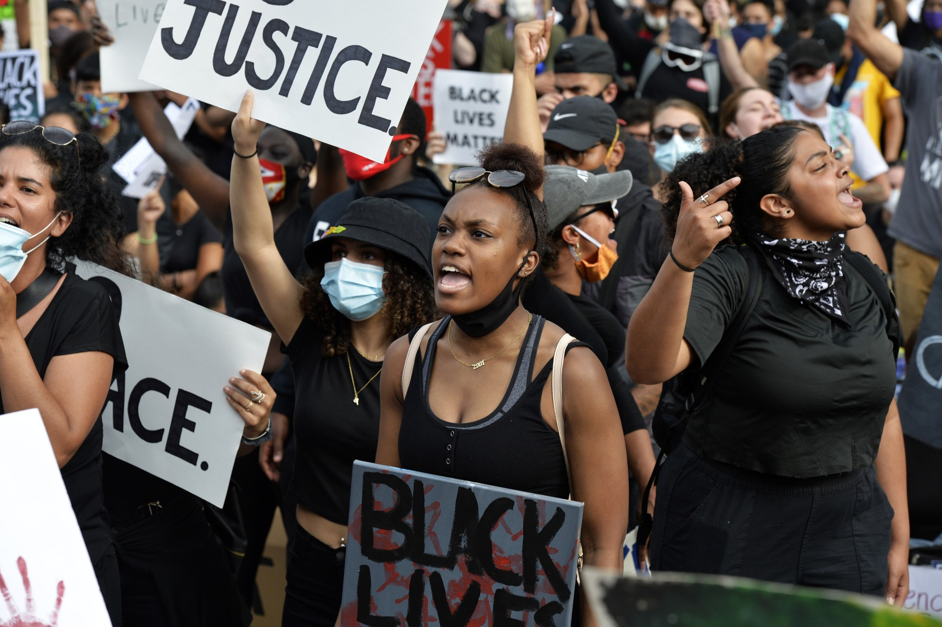 Protesters rally on the steps of the State House, calling for an end to Police injustice, during a Black Lives Matter rally in Providence, Rhode Island on June 5, 2020. (Photo by Joseph Prezioso / AFP) (Photo by JOSEPH PREZIOSO/AFP via Getty Images)