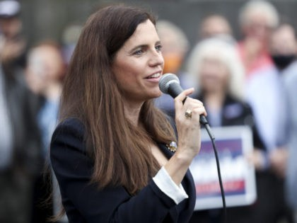 CHARLESTON, SC - OCTOBER 31: Republican congressional candidate Nancy Mace speaks to the crowd at an event with Sen. Lindsey Graham at the Charleston County Victory Office during Grahams campaign bus tour on October 31, 2020 in Charleston, South Carolina. Graham is in a closely watched race against democratic challenger …