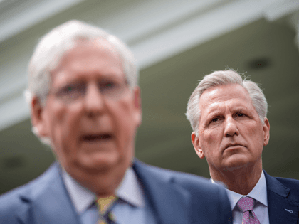 (L-R) Senate Minority Leader Mitch McConnell (R-KY) and House Minority Leader Kevin McCarthy (R-CA) address reporters outside the White House after their Oval Office meeting with President Joe Biden on May 12, 2021 in Washington, DC. Biden and Vice President Kamala Harris met with Congressional leadership on Wednesday, in an …