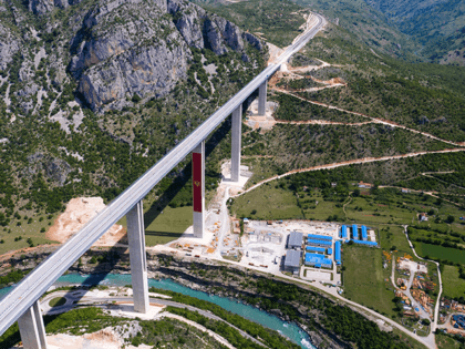 An aerial views shows a part of the new highway connecting the city of Bar on Montenegros Adriatic coast to landlocked neighbour Serbia, (Bar-Boljare highway) on May 11, 2021, near Podgorica, which is being constructed by China Road and Bridge Corporation (CRBC), the large state-owned Chinese company. - Two sleek …