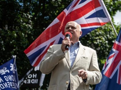 LONDON, ENGLAND - JUNE 12: MP Iain Duncan Smith speaks at a rally for Hong Kong democracy at the Marble Arch on June 12, 2021 in London, England. The rally marked two years since a confrontation between Hong Kong police and protesters opposed to the Fugitive Offenders amendment bill, which …