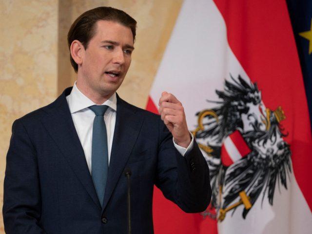 Austrian Chancellor Sebastian Kurz speaks during a press conference during the Western Balkans summit at Palais Niederostereich in Vienna, Austria, on June 18, 2021. (Photo by JOE KLAMAR / AFP) (Photo by JOE KLAMAR/AFP via Getty Images)