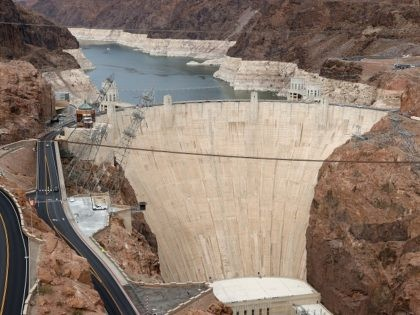 LAKE MEAD NATIONAL RECREATION AREA, NEVADA - JUNE 15: A view shows Lake Mead behind the Hoover Dam, the Hoover Powerplant below and the Colorado River from the Nevada side of the Mike O'Callaghan-Pat Tillman Memorial Bridge on June 15, 2021 in the Lake Mead National Recreation Area, Nevada. Last …