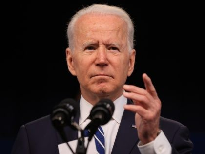 WASHINGTON, DC - JULY 02: U.S. President Joe Biden delivers remarks about the June jobs report in the South Court Auditorium in the Eisenhower Executive Office Building on July 02, 2021 in Washington, DC. Exceeding expectations, the U.S. economy added 850,000 jobs in June and the unemployment rate settled at …