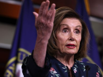 WASHINGTON, DC - JULY 22: House Speaker Nancy Pelosi (D-CA) gestures during her weekly news conference at the Capitol building on July 22, 2021 in Washington, DC. Speaker Pelosi said that the House would not take up the bipartisan infrastructure bill until the Senate passed the reconciliation bill. (Photo by …