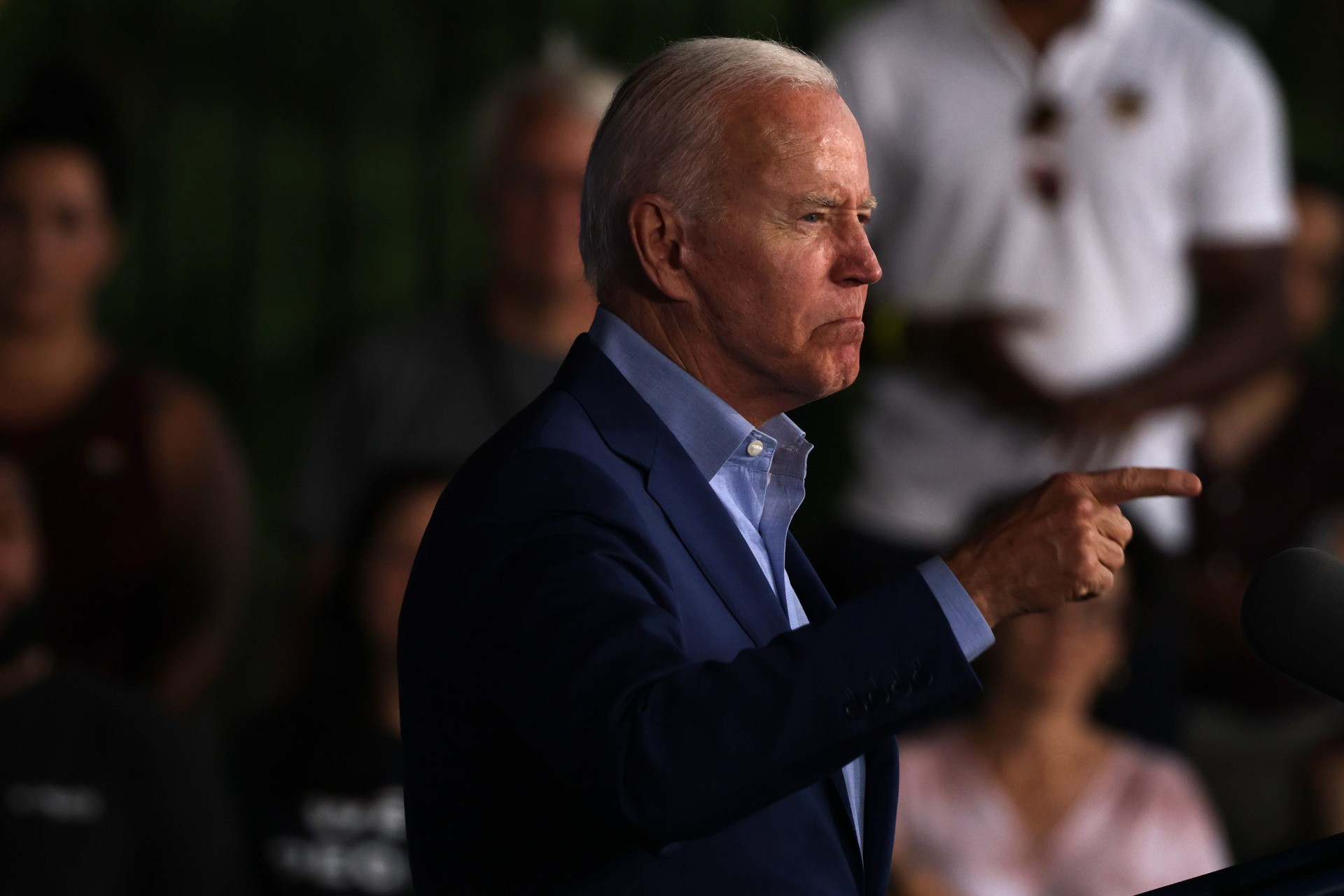ARLINGTON, VIRGINIA - JULY 23: U.S. President Joe Biden gestures as he speaks at a campaign event for Virginia gubernatorial candidate Terry McAuliffe (D-VA) at the Lubber Run Community Center on July 22, 2021 in Arlington, Virginia. President Biden joined McCauliffe to help campaign, marking the President's return to the campaign trail since he entered the White House. (Photo by Anna Moneymaker/Getty Images)