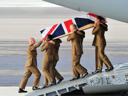 BRIZE NORTON, UNITED KINGDOM - OCTOBER 30: In this handout image supplied by the Ministry of Defence (MoD), the repatriation ceremony takes place for Corporal David O'Connor from 40 Commando Royal Marines and Corporal Channing Day from 3 Medical Regiment, at RAF Brize Norton on October 30, 2012 in United …