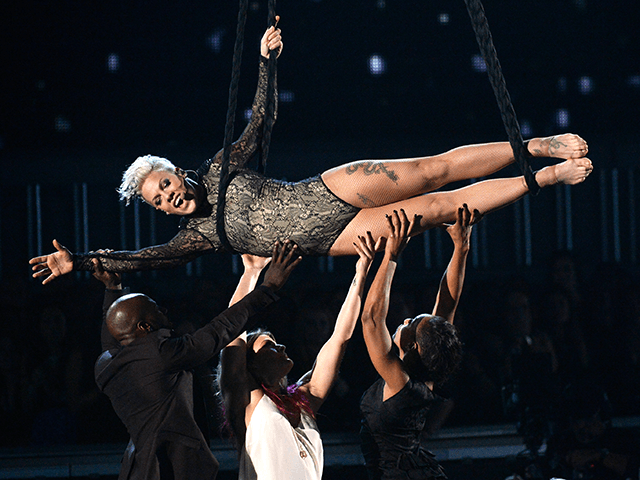 Singer Pink performs onstage during the 56th GRAMMY Awards at Staples Center on January 26, 2014 in Los Angeles, California. (Photo by Kevork Djansezian/Getty Images)