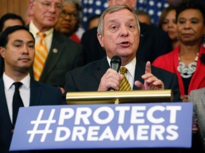 WASHINGTON, DC - SEPTEMBER 6: U.S. Sen. Dick Durbin (D-IL) speaks at a news conference about President Donald Trump's decision to end the Deferred Action for Childhood Arrivals (DACA) program at the U.S. Capitol September 6, 2017 in Washington, DC. Democrats called for action on young undocumented immigrants that came …