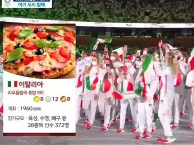 MBC displayed images of pizza, chernobyl, and Dracula to introduce Olympic teams.