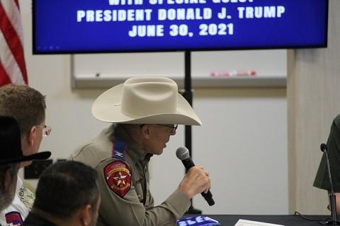 Texas DPS Director Steve McCraw briefs former President Donald Trump during a tour of the Texas Border. (Photo: Randy Clark/Breitbart Texas)