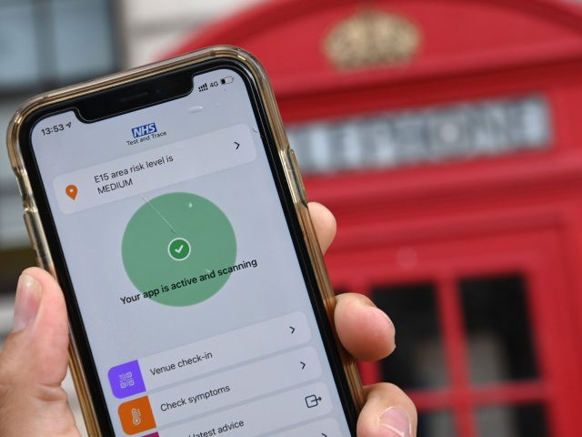 The newly launched contact tracing app, which uses Bluetooth technology to alert users if they spend 15 minutes or more within two metres (six feet) of another user who subsequently tests positive for the nove coronavirus COVID-19, is pictured on a smartphone in London on September 24, 2020. - The …