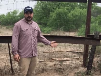 Rancher Brian King along damaged fence on his ranch near the Texas border with Mexico. (Video Screenshot/Texas Farm Bureau)