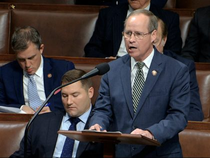 Rep. Greg Murphy, R-N.C., speaks as the House of Representatives debates the articles of impeachment against President Donald Trump at the Capitol in Washington, Wednesday, Dec. 18, 2019. (House Television via AP)