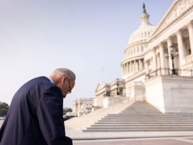 Schumer Hunched Over, Capitol Steps