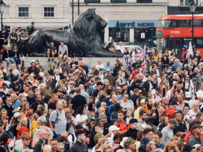 Thousands protested in London against Boris Johnson's vaccine passport plan, July 24th, 2021. Kurt Zindulka, Breitbart News