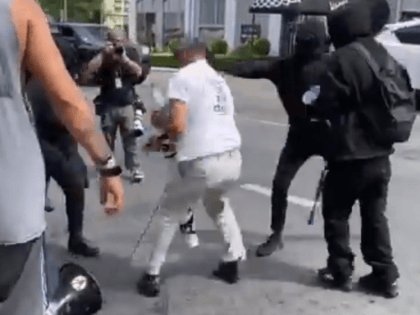 Antifa attacks a street preacher outside the Wi Spa in Los Angeles. (Twitter Video Screenshot/Andy Ngo)