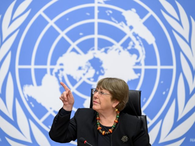 """UN High Commissioner for Human Rights Michelle Bachelet gestures at a press conference on December 9, 2020 in Geneva. - The UN human rights chief warned that the coronavirus crisis had """"zeroed in on the fissures and fragilities in our societies,"""" including a failure to respect basic rights. (Photo by …"""