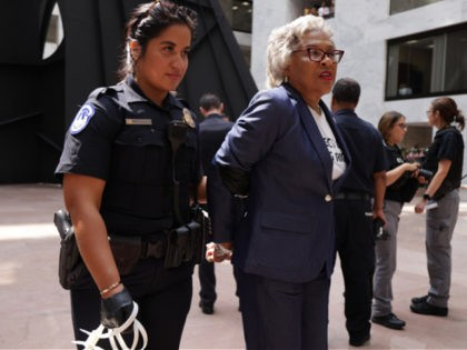 WASHINGTON, DC - JULY 15: U.S. Rep. Joyce Beatty (D-OH) (2nd L) and Chair of Congressional Black Caucus (CBC), is led away by a member of the U.S. Capitol Police during a protest at Hart Senate Office Building July 15, 2021 on Capitol Hill in Washington, DC. The activists participate …